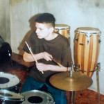 Jojo plays drums at school 1996